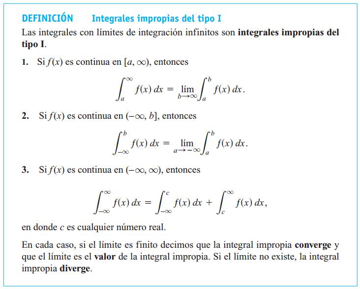 Tipos de Integrales Impropias de 1ª especie